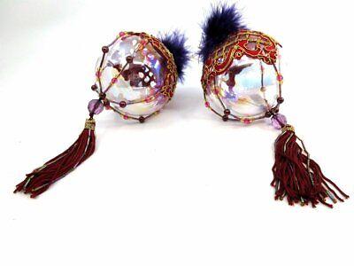 Set of 2 Embellished Clear Ball Beaded Tassel Hanging Christmas Ornaments](Plastic Ornament Balls Bulk)