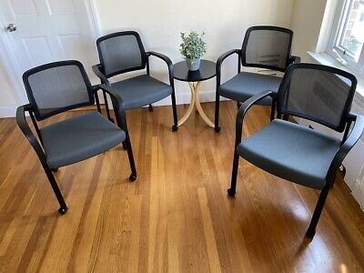 Three Allsteel High-end Relate Side Chairs With Arms Casters