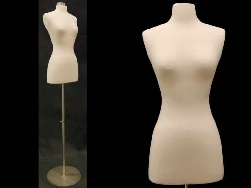 HIGH QUALITY! Size 2-4 Female Mannequin Dress Form+Metal Base #FWPW-4 +  BS-04