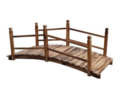 WestWood Wooden Bridge Garden Pond Water Stream Outdoor Oriental Low Rail