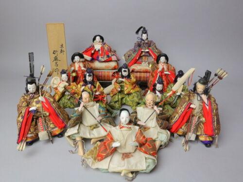 LOT 15 Vintage Japanese Hina Samurai doll in Kimono 60-70 years Royal WeddingSet