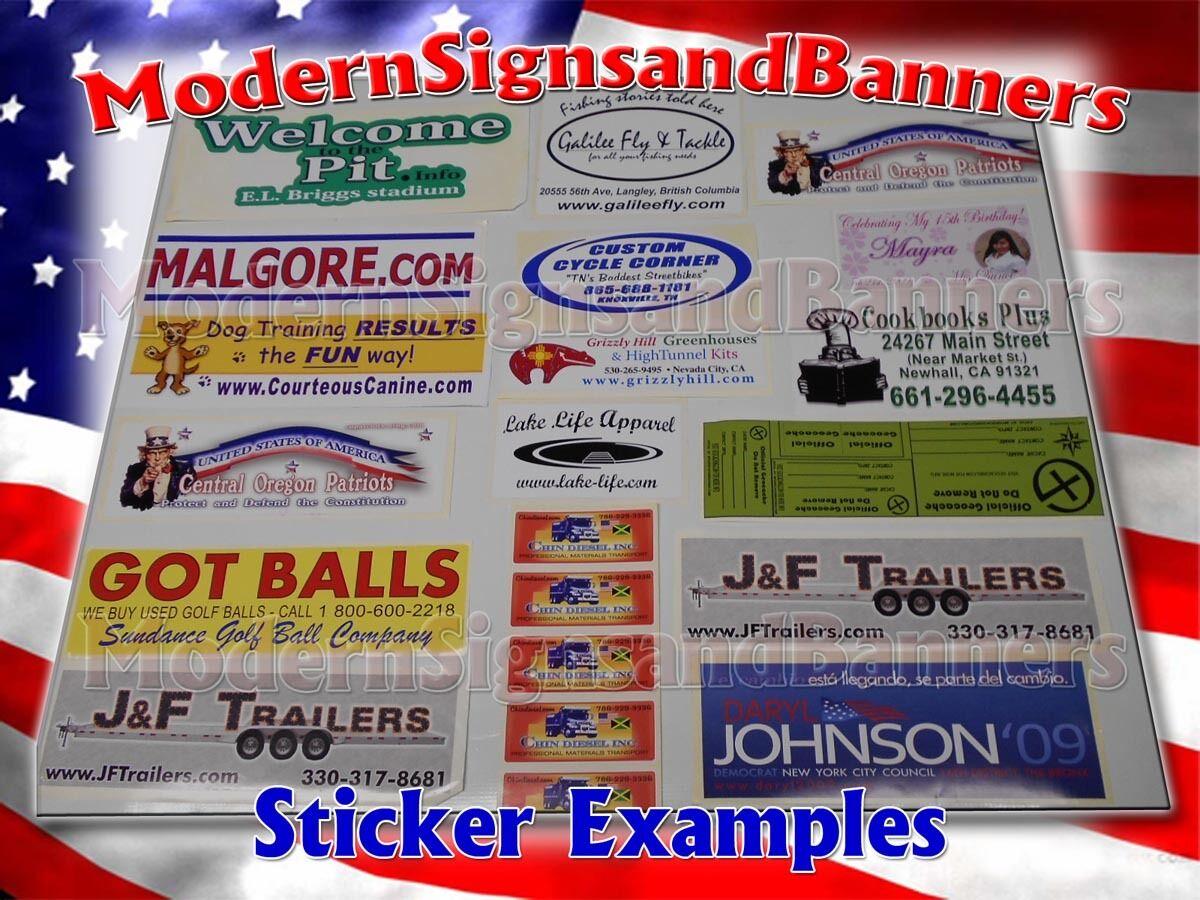 250 2x2 Custom Printed Full Color Outdoor Vinyl Car Bumper Sticker Decal Die Cut