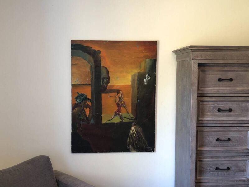 1972 Original Vintage nude surreal / modernist art oil on canvas