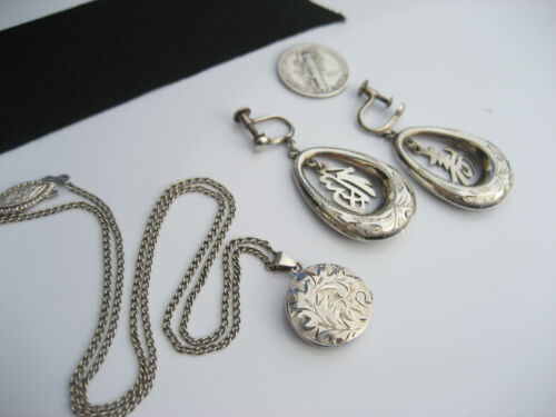 Antique Art Deco Japanese Sterling Silver Earrings & Locket Necklace Engraved