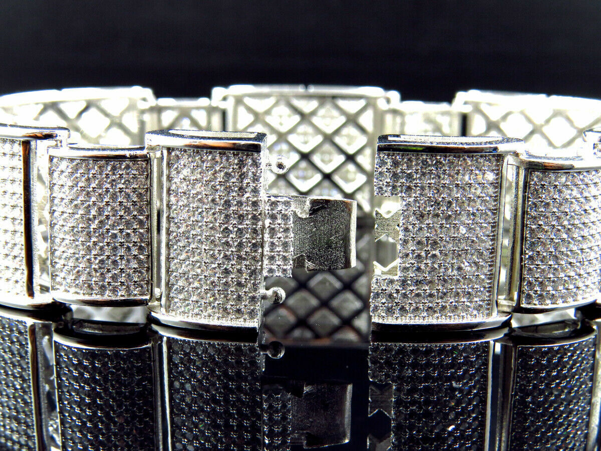 15Ct Round Cut Diamond 14K White Gold Over Men's Exclusive Link Bracelet 5