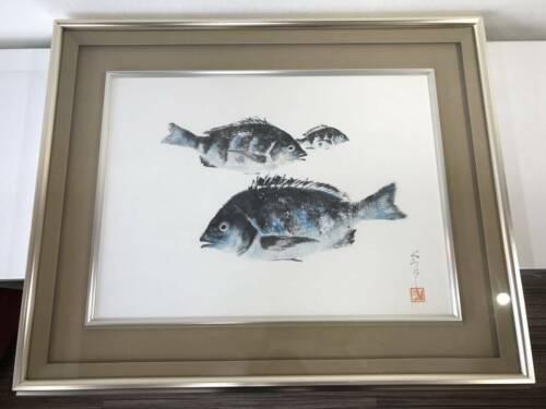 Japanese Gyotaku Painted Art Black Sea Bream 60x72.5cm