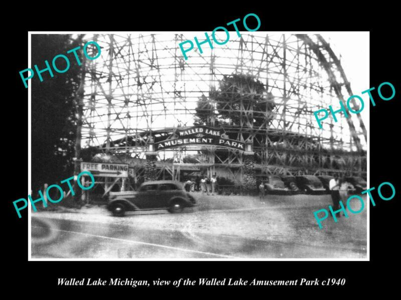 OLD POSTCARD SIZE PHOTO OF WALLED LAKE MICHIGAN VIEW OF THE AMUSEMENT PARK 1940