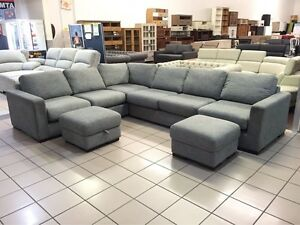 6 SEATER CORNER LOUNGE + 2 OTTOMANS W/STORAGE Logan Central Logan Area Preview