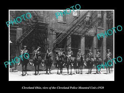 OLD 6 X 4 HISTORIC PHOTO OF CLEVELAND OHIO THE POLICE MOUNTED UNIT c1920