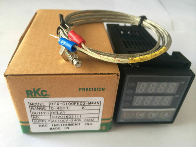 PID REX-C100 Temperature Controller & K Thermocouple Probe Sensor NEW