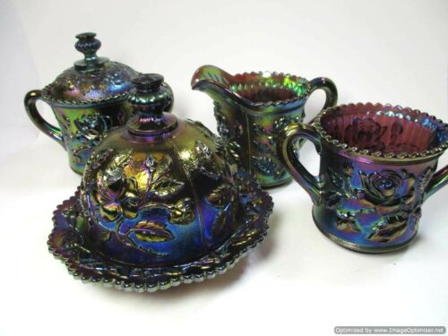 Rare Imperial Glass Electric Purple Luster Rose Carnival Glass Antique Table Set
