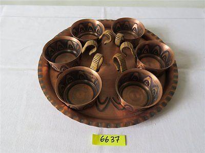 HMZ echt Handarbeit Kupfer Tablett Ø 27,3 cm mit 6 Stück Teeglashalter