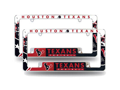 Houston Texans NFL  Chrome Metal License Plate Frames with B