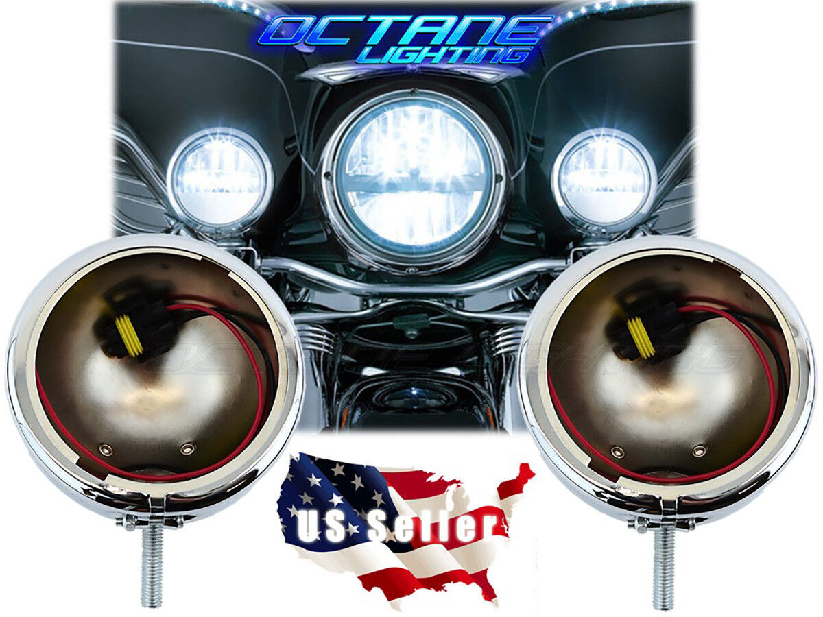 "4.5"" Motorcycle Passing Fog Auxiliary Light Chrome Housing Bucket Pair: Harley"