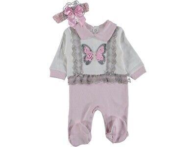 Mädchen  ♥ Strampler Overall Baby Schlafanzug und Stirnband  Gr.: 56, 62, 68