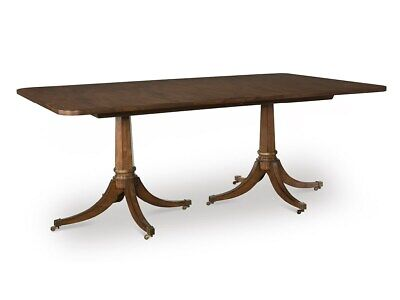 Calliope 10 Foot Traditional Walnut Double Pedestal Extension Dining Table ()