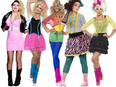 Wild Child Madonna Adult Ladies 1980s Fancy Dress Costume 80s Aerobics - Wild Child Adult Kostüm