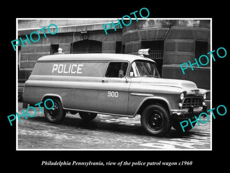 OLD LARGE HISTORIC PHOTO PHILADELPHIA PENNSYLVANIA POLICE PATROL WAGON c1960