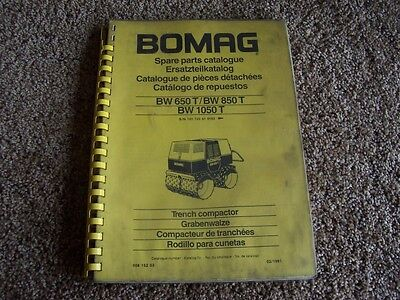 Bomag Trench Compactor Bw 650 850 1050 T Factory Parts Catalog Manual Manual
