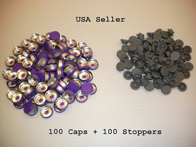 200 Set 20mm Serum Vial Snap On Stoppers Aluminum Flip Off Crimp Cap Seal Lot P