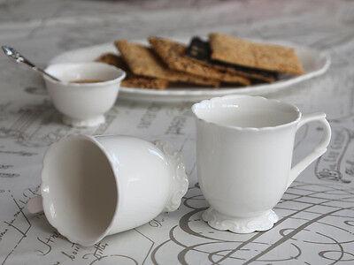 Chic Antique Provence Becher Kaffee Tasse Teetasse Weiß Shabby Chic Deko vintage Weiße Becher