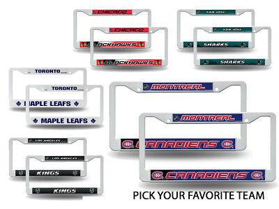NHL Teams - Hockey Plastic (2) License Plate Frame Set Car Truck Auto Tag - Hockey Teams Nhl