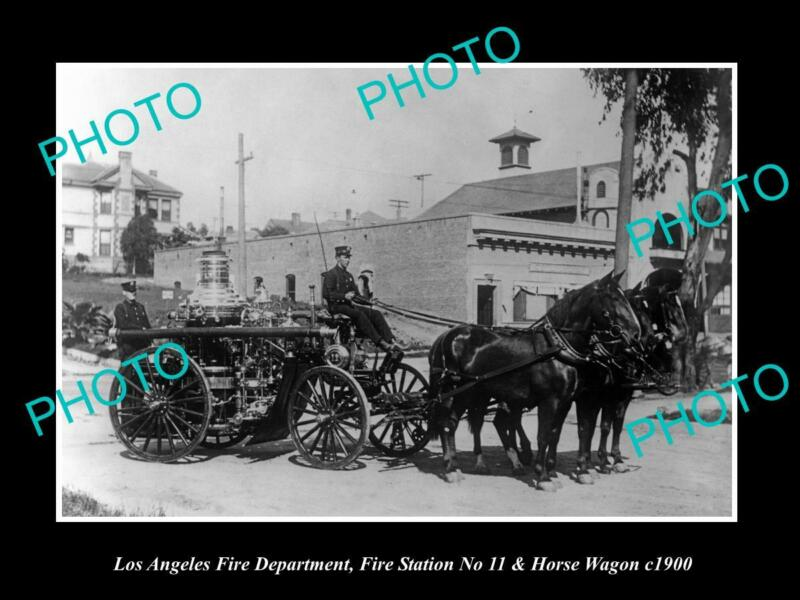OLD 8x6 HISTORIC PHOTO OF LOS ANGELES FIRE DEPARTMENT STATION 11 WAGON c1900
