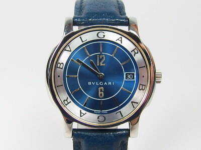 Rare! Vintage BVLGARI Solotempo ST35S Men's Watch - Special Blue Dial