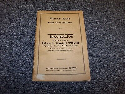 International Harvester Ih Td18 Dozer W Gar Wood T5b Winch Parts Catalog Manual
