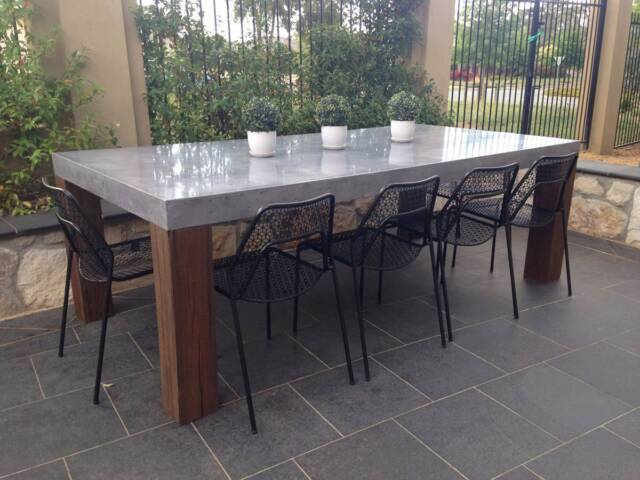 10 Seater Concrete And Timber Dining Table Dining Tables