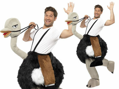 Ostrich Costume Ride On Adults Emu Animal Fancy Dress Novelty Outfit (Man On Ostrich Costume)