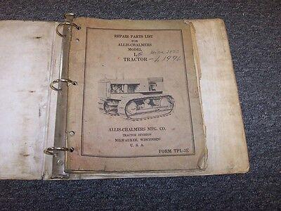 Allis Chalmers Model L Bulldozer Dozer Crawler Tractor Parts Catalog Manual Book