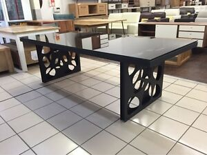 240CM GLASS TOP DINING TABLE W/ POWDER COATED STEEL LEGS Logan Central Logan Area Preview