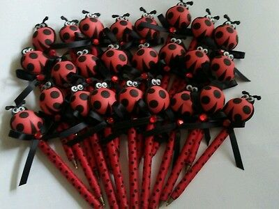 30 pcs Baby Shower favor pens ladybug for boy/girl