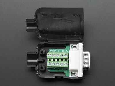 Db-9 Male Plug To Terminal Block Breakout Diy Connector Jack W Shell - De-9