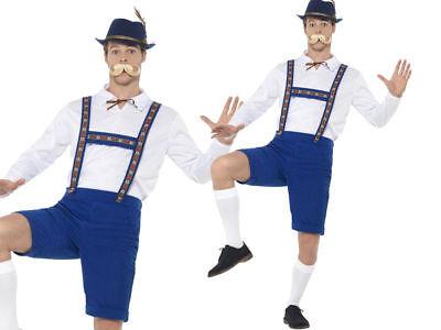 Herren Bayrisch Oktoberfest Lederhosen Maskenkostüm Blau Neu - Blaue Lederhosen Kostüm