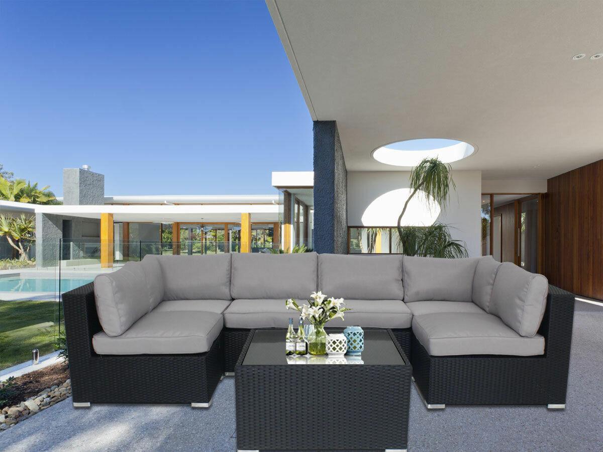 Garden Furniture - Rattan Garden Furniture U Corner Sofa Set Black Outdoor Patio Coffee W Cushions