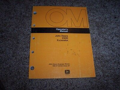 John Deere 290d 290 D Excavator Owner Operator Maintenance Manual Omat130302