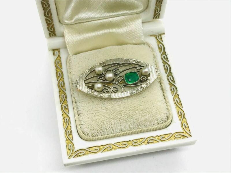 Edwardian 14K Gold & Platinum Emerald Pearl Floral Pin Brooch