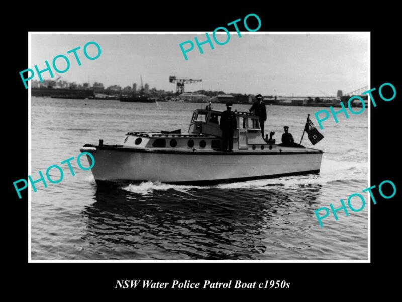 OLD LARGE HISTORIC PHOTO OF NEW SOUTH WALES WATER POLICE PATROL BOAT c1950