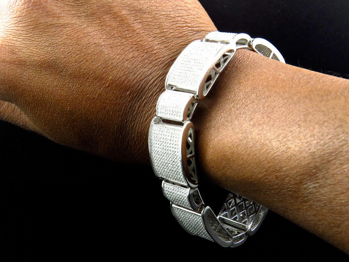 15Ct Round Cut Diamond 14K White Gold Over Men's Exclusive Link Bracelet 1