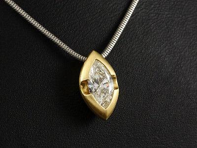 Exklusiver Diamant Navette Anhänger Collier ca. 1,15ct  750/- Gelbgold & Platin