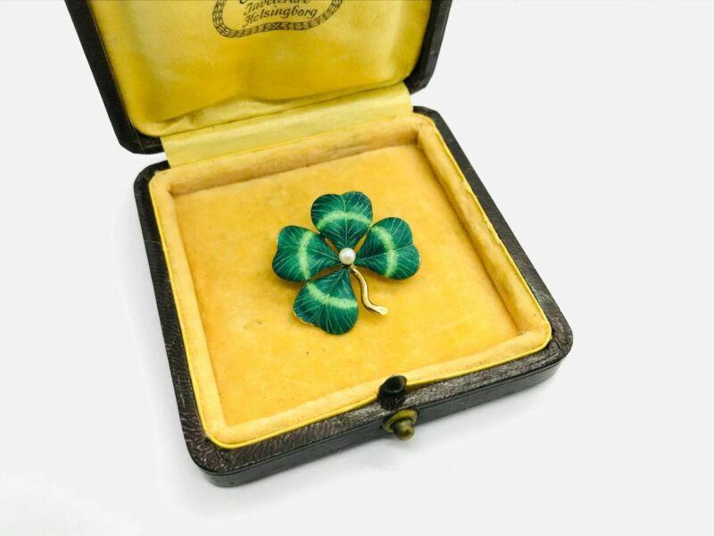Art Nouveau 14K Gold Four Leaf Clover Shamrock Enamel Pendant Brooch