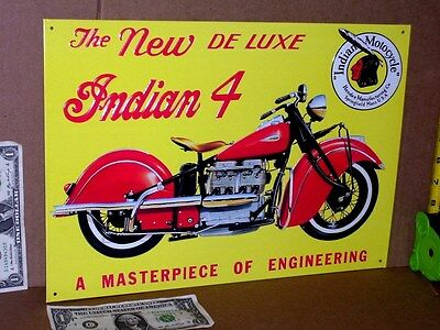Used, INDIAN 4 DE LUX - Four Cylinder Motor -- EARLY BIKE SIGN - Shows Detail Close Up for sale  Boston