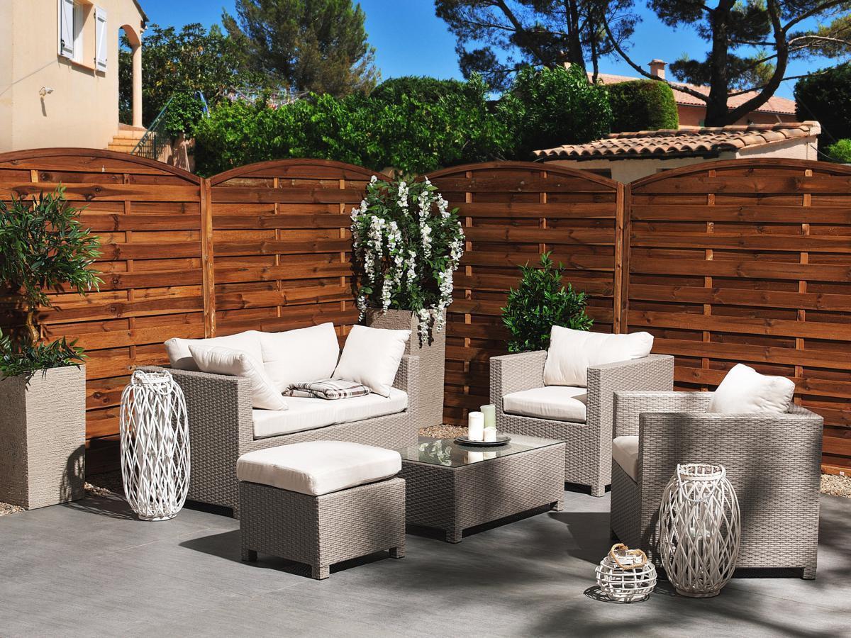 Rattan Gartenmöbel Lounge Sitzgruppe Sitzgarnitur grau weiß für Terrasse günstig