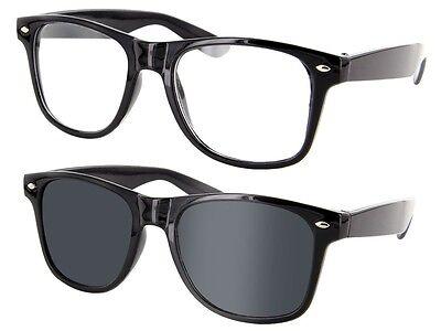 Retro Sonnenbrille Nerd-Brille Hornbrillen Party Atzen Streber klar & schwarz
