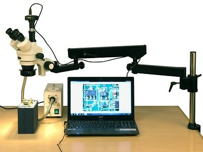 Amscope 3.5x-180x Fiber Ring Articulating Zoom Stereo Microscope 18mp Camera