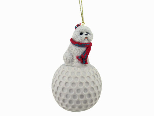 Bichon Frise Dog Golf Sports Figurine Ornament