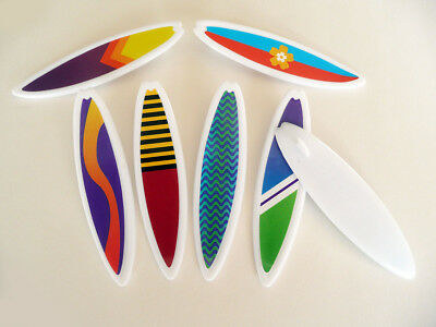 Set of 12 Surfboard Cupcake Layons Picks Decorations Cake Toppers Layons Luau - Luau Cake