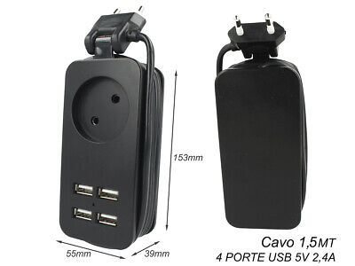 2 Piezas Regleta Regleta Eléctrica Cargador 4 Puertas USB 5V 2,4A Rápida